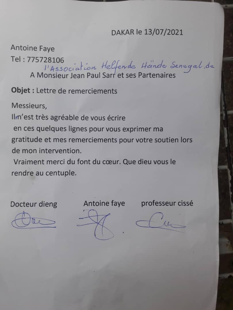 Dankesschreiben von Antoine Faye
